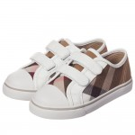 BURBERRY Unisex Beige Check Trainers with White Trim