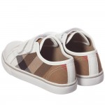 BURBERRY Unisex Beige Check Trainers with White Trim 2