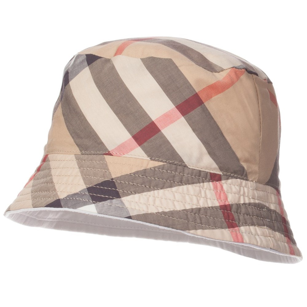 ec558258617 BURBERRY Unisex White Cotton   Beige Nova Check Sun Hat - Children ...