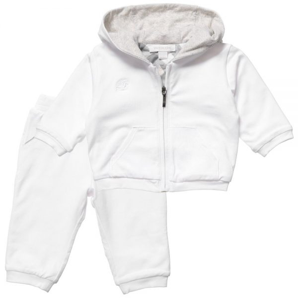 BURBERRY White Cotton Unisex Baby Tracksuit 2