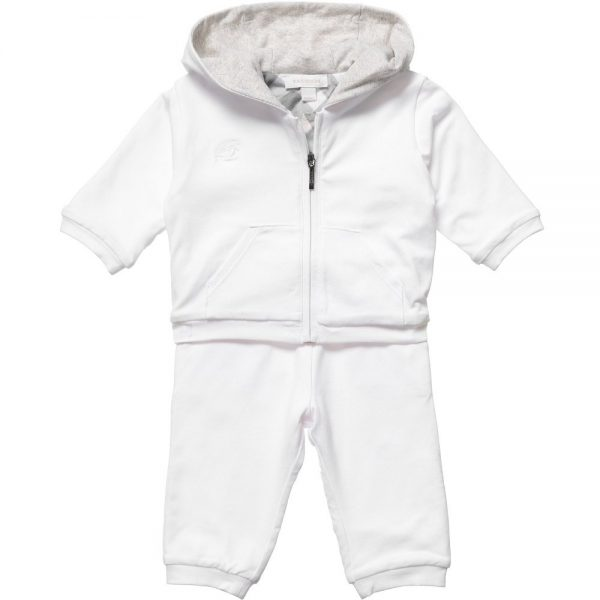 BURBERRY White Cotton Unisex Baby Tracksuit