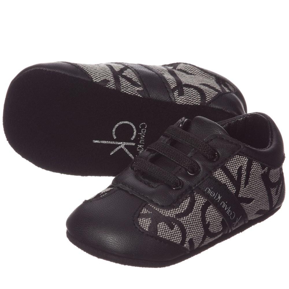 93fa374237 CALVIN KLEIN Black 'CK' Baby Pre-Walker Trainers - Children Boutique