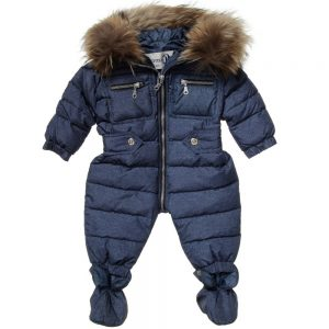 CANZITEX Blue Quilted Down Padded Snowsuit