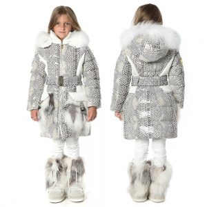 CANZITEX Ivory Down Padded Snakeskin Coat 1
