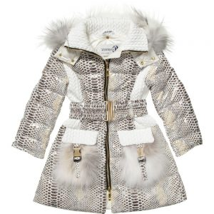 CANZITEX Ivory Down Padded Snakeskin Coat