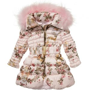 CANZITEX Pink Quilted Floral Down Padded Coat