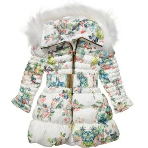CANZITEX White Quilted Floral Down Padded Coat
