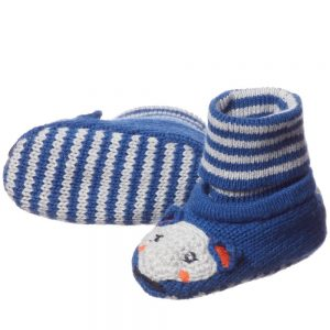 CATIMINI Blue Knitted Fox Bootees