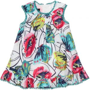 CATIMINI Butterfly Print Cotton Dress