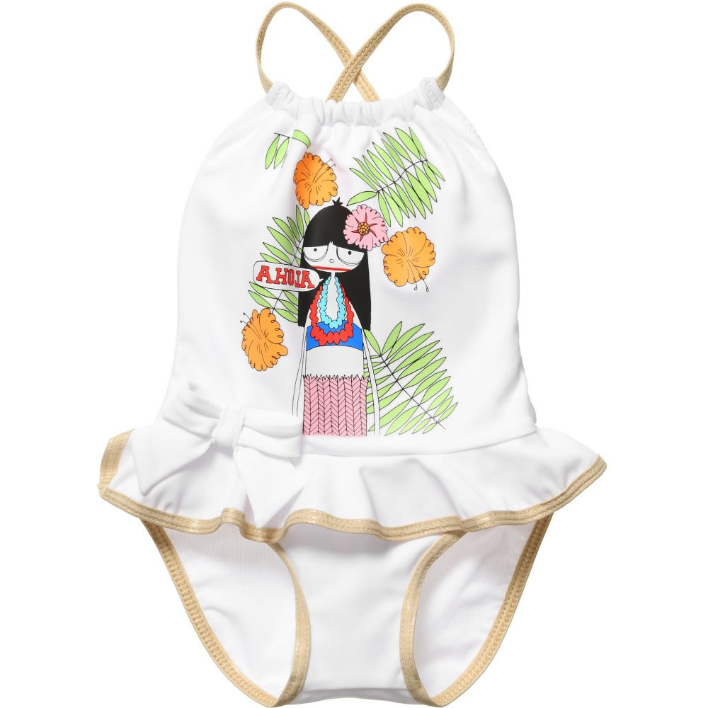 a4829064 LITTLE MARC JACOBS Baby Girls White Miss Marc Swimsuit - Children ...