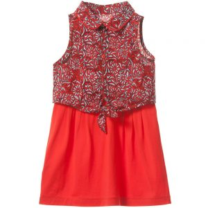Little Marc JacobsGirls Red Dress with Tie Blouse 3