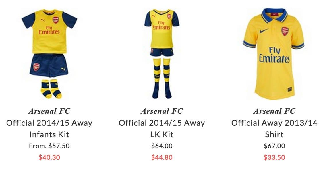 Arsenal FC children sport clothing