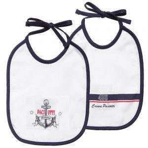 CESARE PACIOTTI 4US Baby Boys White Cotton Bibs (Pack Of 2 )