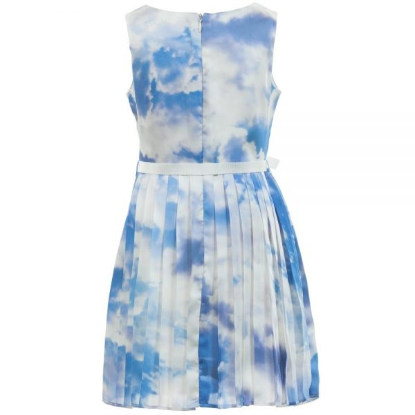 CHARABIA Blue Cloud Print Dress with Ribbon Belt 2