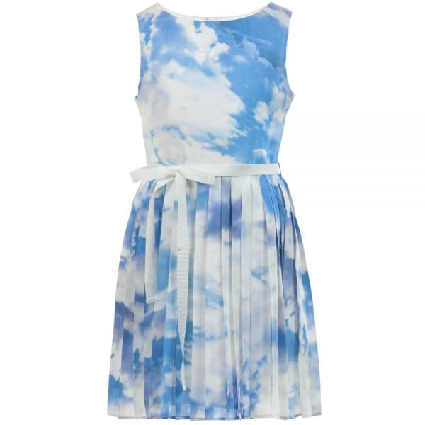 CHARABIA Blue Cloud Print Dress with Ribbon Belt