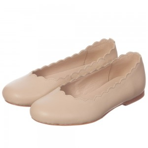 CHLOÉ Beige Leather Ballerina Shoes