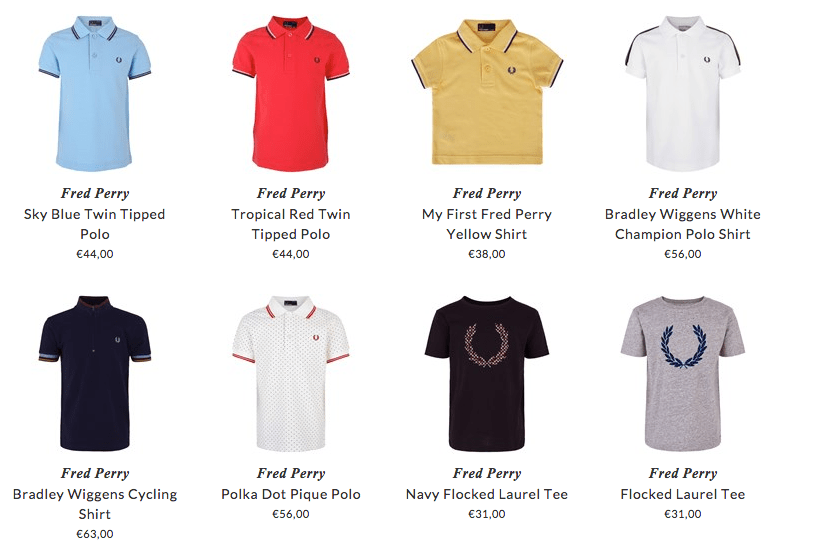 Fred Perry kids clothing