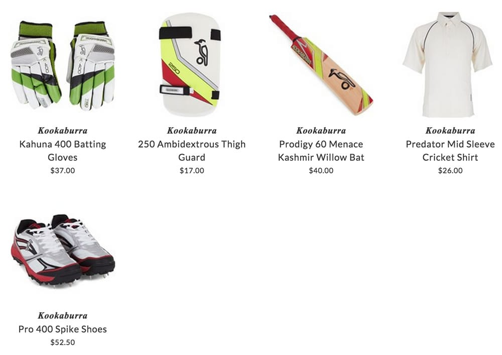 Kookaburra kids cricket clothing & accessories