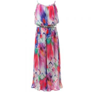 LOREDANA Girls Bright Print Pleated Chiffon Jumpsuit1