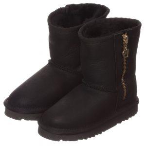 LOVE FROM AUSTRALIA Black Sheepskin 'Heart Zip Nappa' Boots2