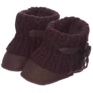 LOVE FROM AUSTRALIA Brown Sheepskin 'Cozi Cable' Pre-Walker Bootees