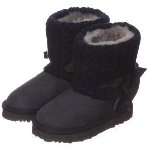 LOVE FROM AUSTRALIA Navy Blue Sheepskin 'Cozi Cable Bow' Boots