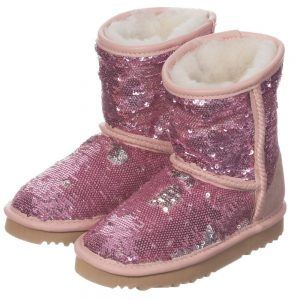 LOVE FROM AUSTRALIA Pink Sequin Sheepskin Boots4