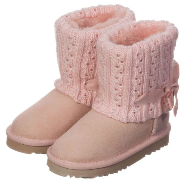 LOVE FROM AUSTRALIA Pink Sheepskin 'Cozi Cable Bow' Boots2