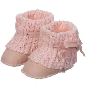 LOVE FROM AUSTRALIA Pink Sheepskin 'Cozi Cable' Pre-Walker Bootees1