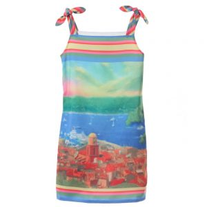 LOVE MADE LOVE St Tropez Print Dress with Bow Straps1