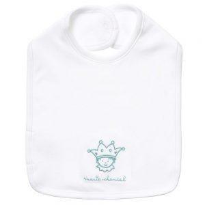 MARIE-CHANTAL Baby Boys White Bib with Blue Logo1
