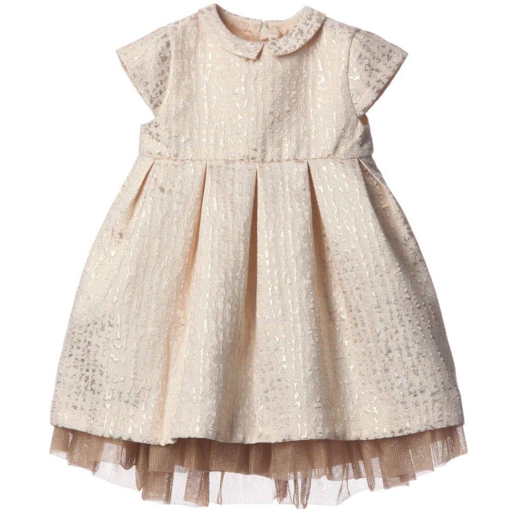 Marie Chantal Baby Girls Gold Jacquard Dress Children