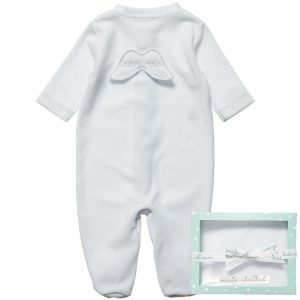 MARIE-CHANTAL Blue Velour Babygrow with Angel Wings1