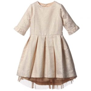 MARIE-CHANTAL Gold Jacquard Dress2