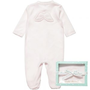 MARIE-CHANTAL Pink Velour Babygrow with Angel Wings3