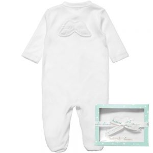 MARIE-CHANTAL White Velour Babygrow with Angel Wings2