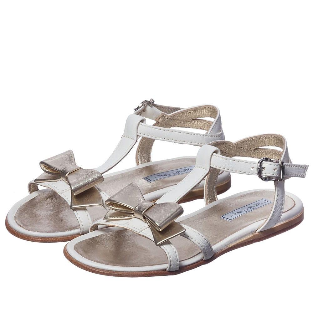 MI MI SOL Girls Ivory Leather Sandals
