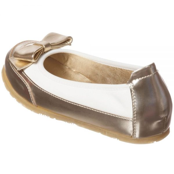 MI MI SOL Girls Ivory and Gold Leather Shoes1