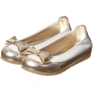 MI MI SOL Girls Ivory and Gold Leather Shoes2