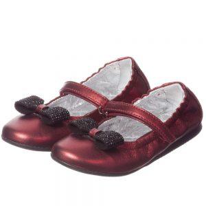 MI MI SOL Girls Red Leather Ballet Pumps1