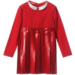 MI MI SOL Red Jersey Dress with Necklace Collar1