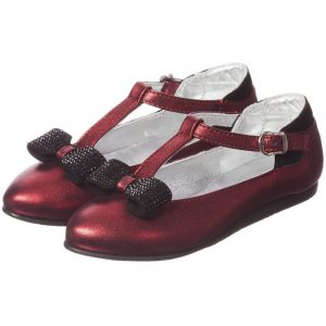 MI MI SOL Red Leather T-Bar Shoe with Bow1