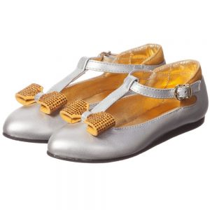 MI MI SOL Silver Leather T-Bar Shoe with Bow2