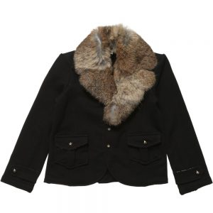 MICROBE BY MISS GRANT Black Blazer with Detachable Rabbit Fur Collar1