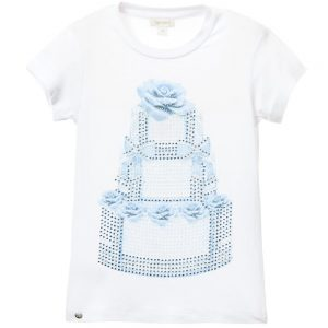 MICROBE BY MISS GRANT Girls White T-Shirt with Floral Cake & Gems1