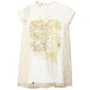 MICROBE BY MISS GRANT Ivory & Gold Jersey Dress with Lace Inserts1
