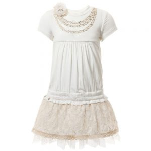 MICROBE BY MISS GRANT Ivory Jersey Dress with Lace Skirt