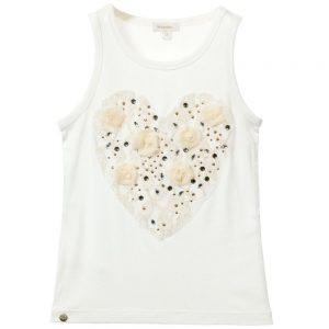 MICROBE BY MISS GRANT Ivory Vest Top with Embellished Heart