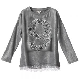 MICROBE BY MISS GRANT Silver Jersey 'Top with Gems1