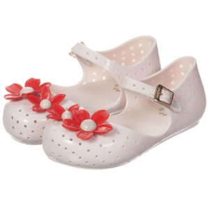 MINI MELISSA Beige Jelly Shoes with Red Flowers1